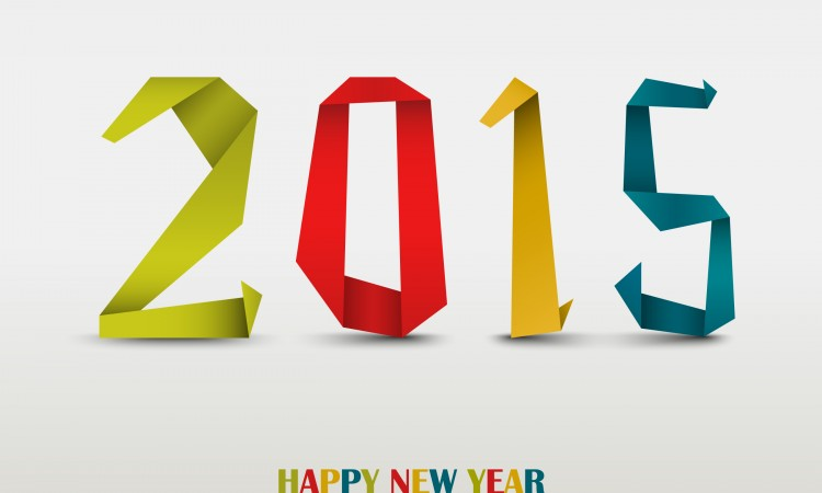 New Year card with folded colored paper background